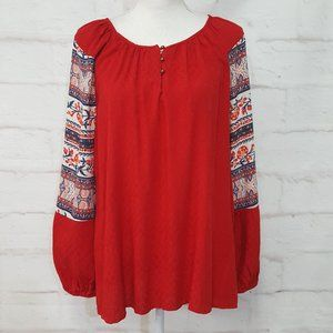 3/$30 Style & Co Red Boho Tunic Blouse Top M